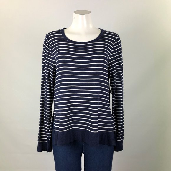 Marc New York Blue & White Striped Top Size L